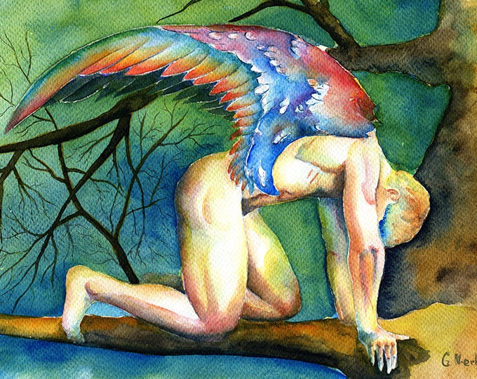 "PRINT Original Artwork Watercolor Painting Erotic Male Man Nude Gay ""Fallen angel"""
