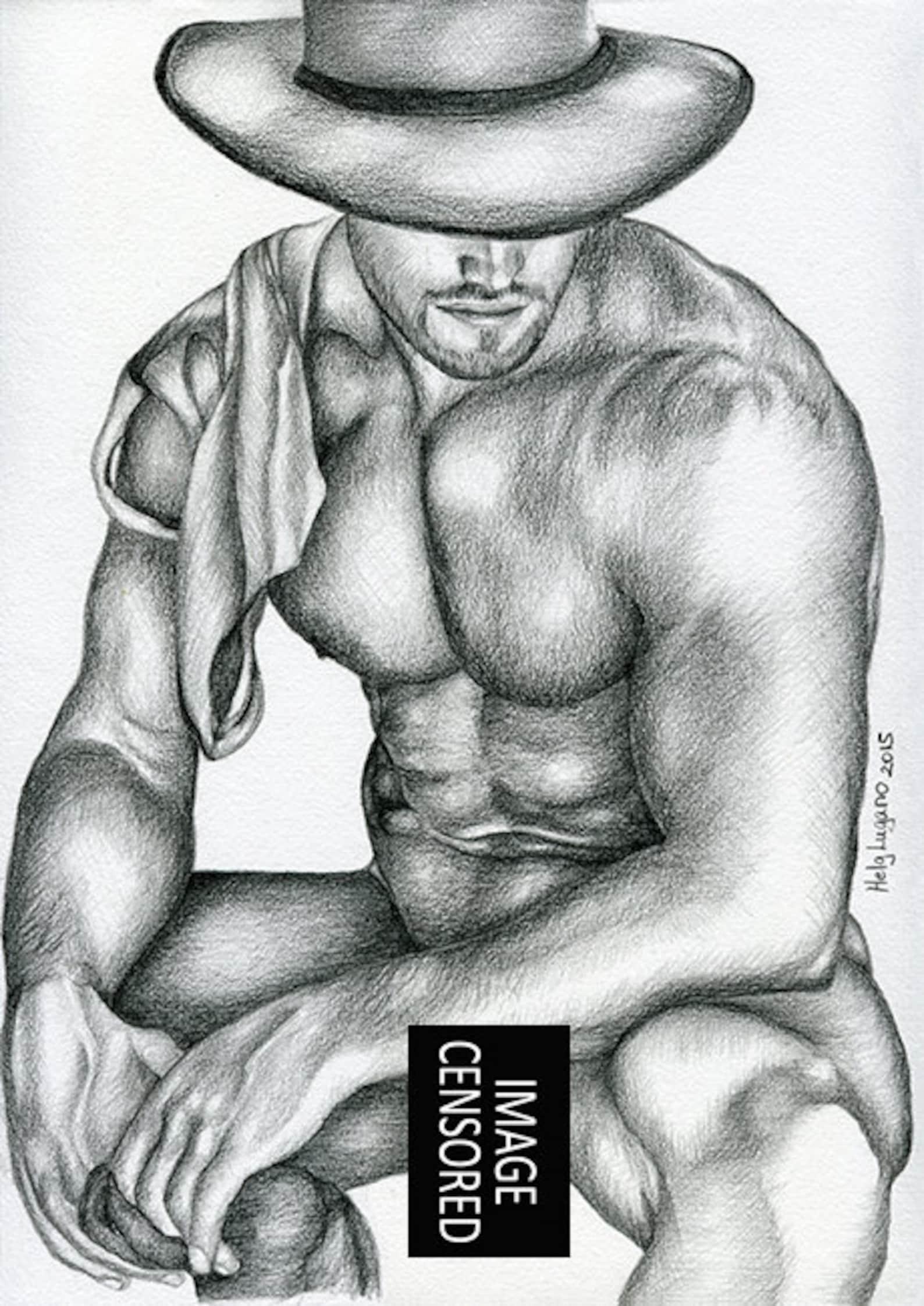 Рисованный Мужчина Обнаженный
