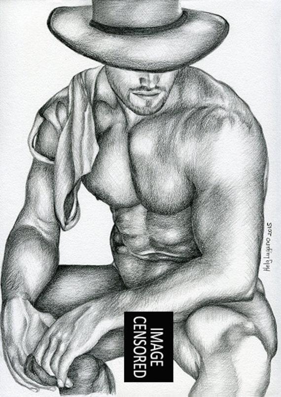 "PRINT of Original Art Work Pencil Drawing Gay Male Nude /""Hidden/"""