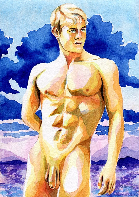 """PRINT of Original Art Work Watercolor Painting Gay Male Nude /""""Right here/"""""""