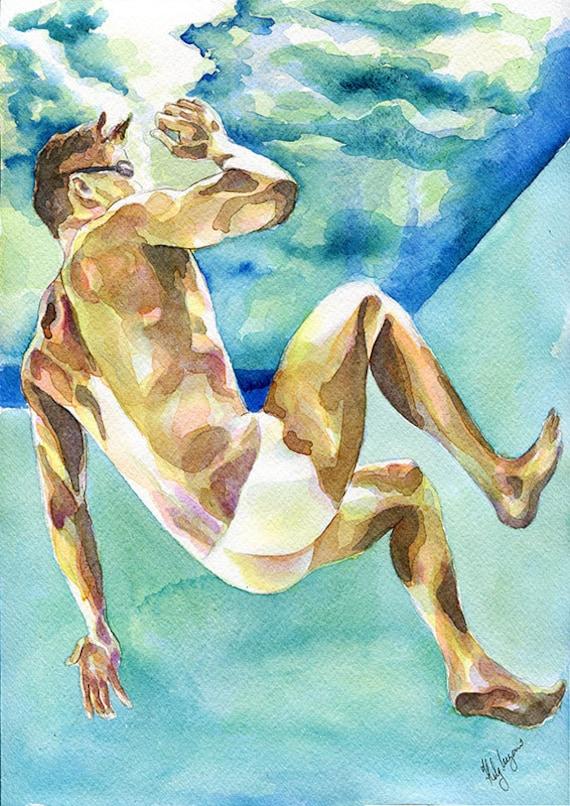 """PRINT of Original Art Work Watercolor Painting Gay Male Nude /""""Under water/"""""""