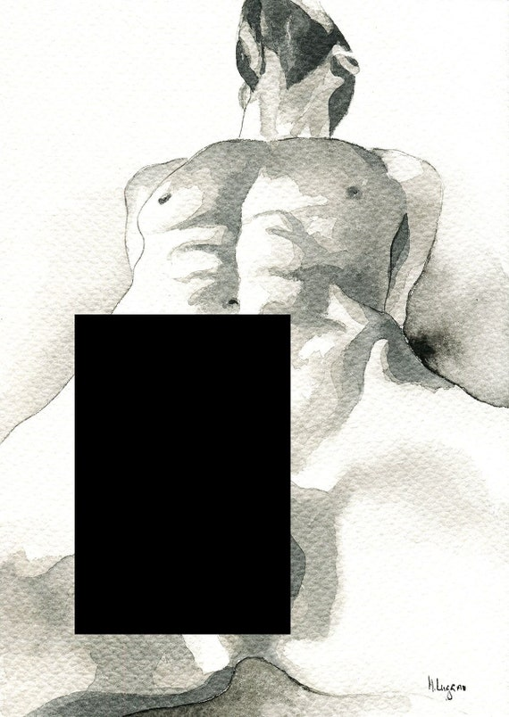 """PRINT of Original Art Work Watercolor Painting Gay Male Nude """"Come Close"""""""