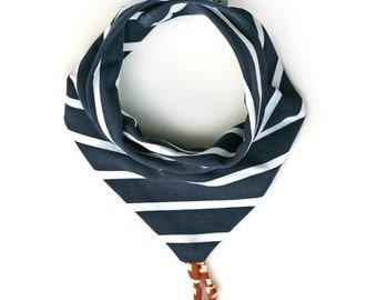 Navy striped Bandana OekoTex baby boy or girl bib