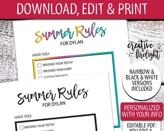 Edit & Print Summer Rules | Editable PDF | Printable Screen Time Rules | Earn Screen Time | Chore List | Summer Chores | Check off Chores