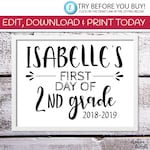 EDITABLE First Day of School Sign  | 8 x 10 Edit & Print First Day of 2nd Grade Printable | Edit Online | Templett | White Background
