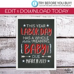 EDITABLE Labor Day Birth Announcement | Pregnancy Announcement | Photo Shoot Prop | Labor Day Sign | DIY Printable | Chalkboard