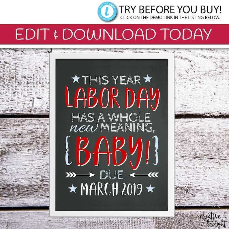 picture regarding Closed Labor Day Printable Sign known as EDITABLE Labor Working day Start Announcement Being pregnant Announcement Image Shoot Prop Labor Working day Indication Do-it-yourself Printable Chalkboard