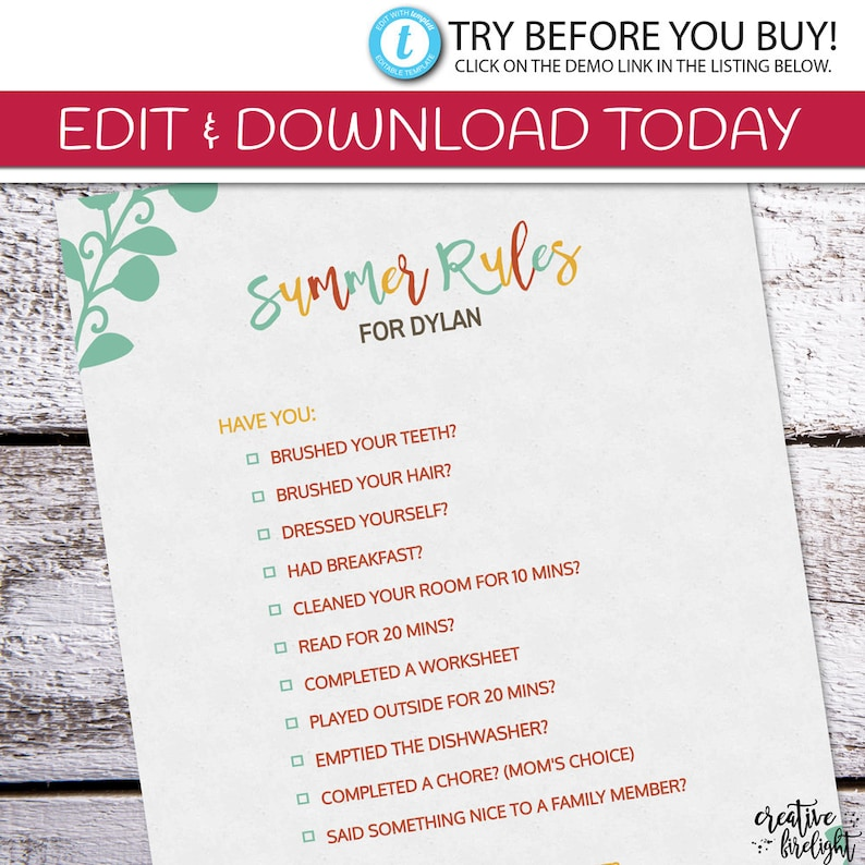 photograph about Summer Rules Printable named EDITABLE Summer season Pointers Editable On-line Printable Exhibit Year Legislation  Chore Checklist Summer season Chores Look at off Chores