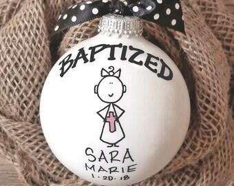 Baptism Ornament, Cross Ornament, Girl Baptism Ornament, Girl Baptism Gift, Personalized Baptism, Christmas Baptism Ornament, Girl Ornament