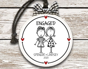 Engaged Ornament Engagement Party Gift Personalized Engaged Christmas Gift Custom Engagement Gift Personalized Christmas Ornament for Couple