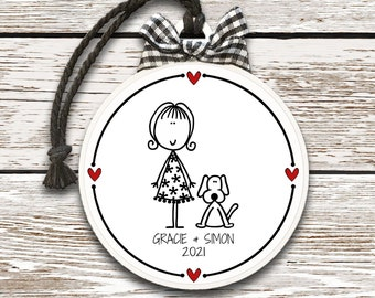 Girl and Dog Ornament, Personalized Pet Ornament, Personalized Dog Ornament, Girl and Puppy Ornament, Christmas Ornament Dog, New Puppy Gift