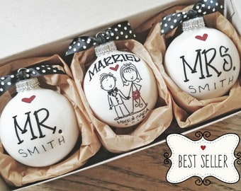 a58661f98d Wedding Gift, Personalized Wedding Gift, Wedding Ornament, Wedding  Christmas Ornaments, Ornaments for Couple,