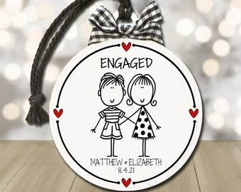 Engagement Gift, Personalized Engagement Ornament, Gift for Engaged Couples, We're Engaged, Engagement Party Gift