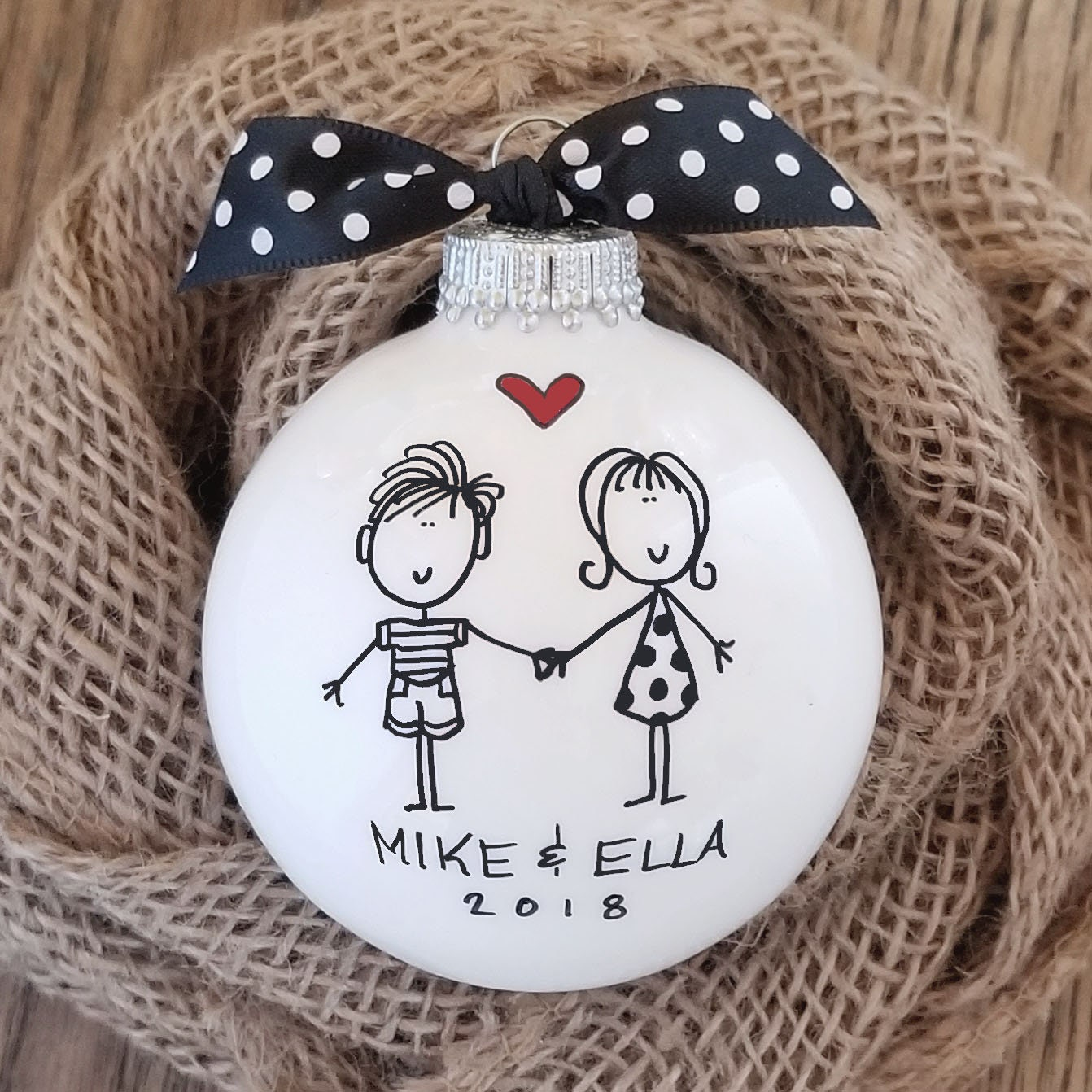 hand painted personalized ornament couples ornament engagement ornament happy couple couples christmas gift housewarming ornament gift