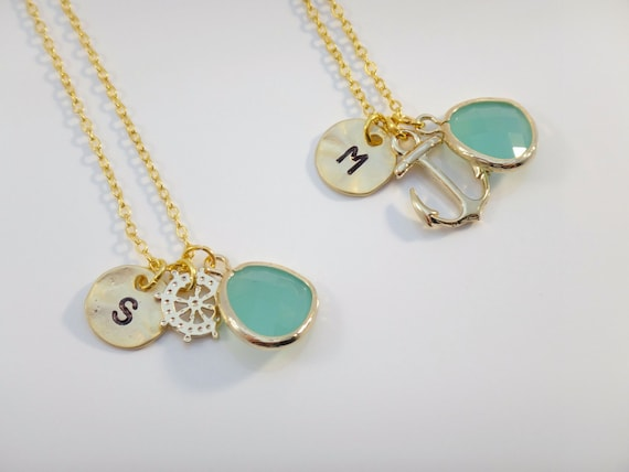 Items similar to Nautical Best Friend Necklace Set ...
