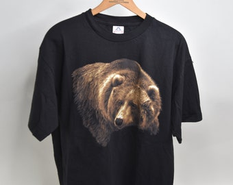 The Mountain American Black Bear Cubs Grizzly Mama Bears Animal Nature Gray Cotton Kids Shirt M-XL