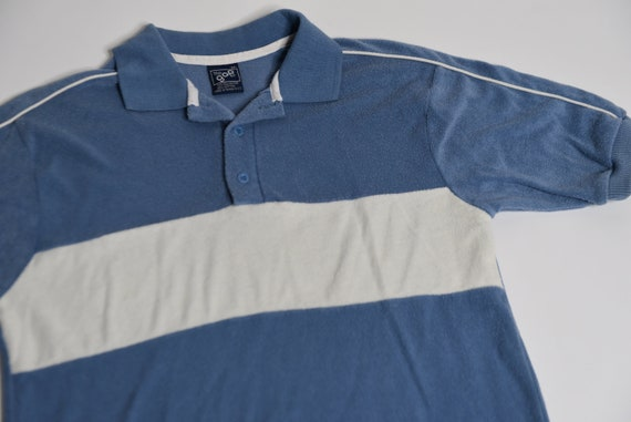 Super Fly Vintage 70's gap Velour Baby Blue Polo S