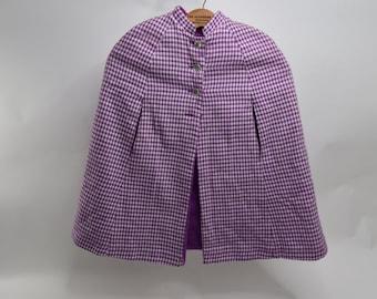 Beautiful Vintage 1960's Purple Houndstooth Cape / Shawl