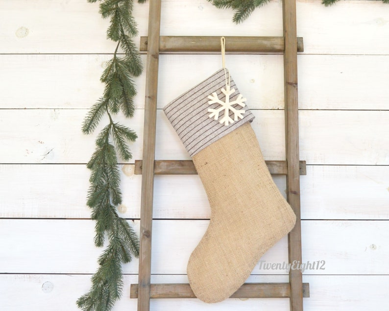 Masculine Stocking Burlap Stocking, Stockings Striped Christmas Stocking -Tan Wool Striped Stocking Personalized Christmas Stocking