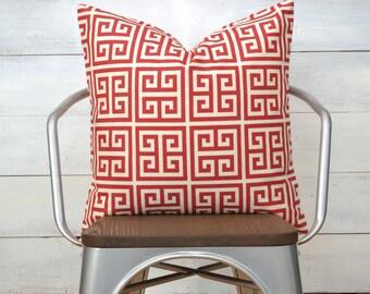 "Red Pillow Cover, Greek Key Pillow Cover, Throw Pillow, Decorative Pillow 22"" x 22"""