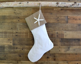 Christmas Stocking - White Linen Look and Burlap - Cotton Stocking, Stocking, Christmas Stocking, Stocking