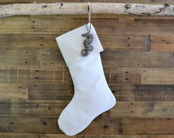 Christmas Stocking - White Linen Look and Tan Stripe Linen  - Cotton Stocking, Beach Stocking, Christmas Stocking