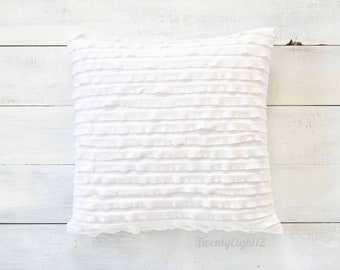 "White Ruffle Pillow Cover -  20"" x 20"" - Decorative Pillow, Throw Pillow, White Pillow Cover, Nursery, Baby Pillow, Girls Room Decor"