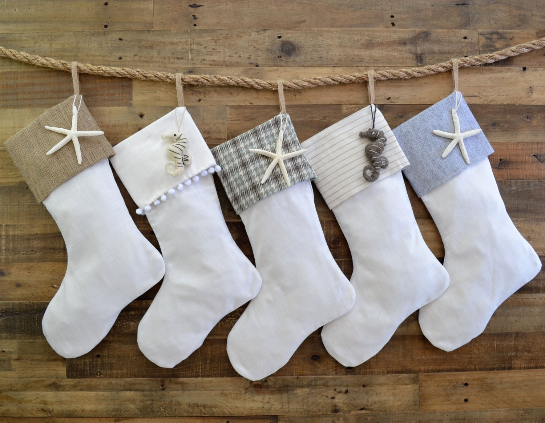 0b41b77d5 Christmas Stocking Set Linen Look Stockings Set of 5