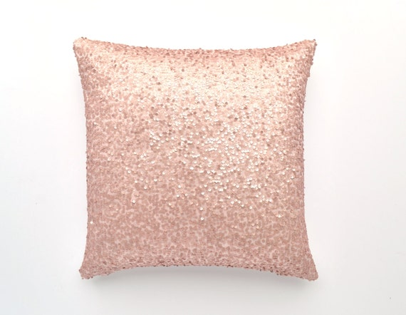 40 X 40 Sequin Pillow Cover Light Blush Etsy Classy Sparkly Decorative Pillows