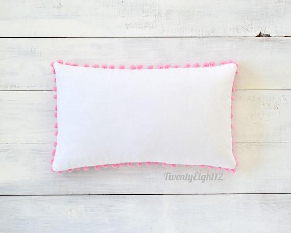 Pom Pom Lumbar Pillow Cover White