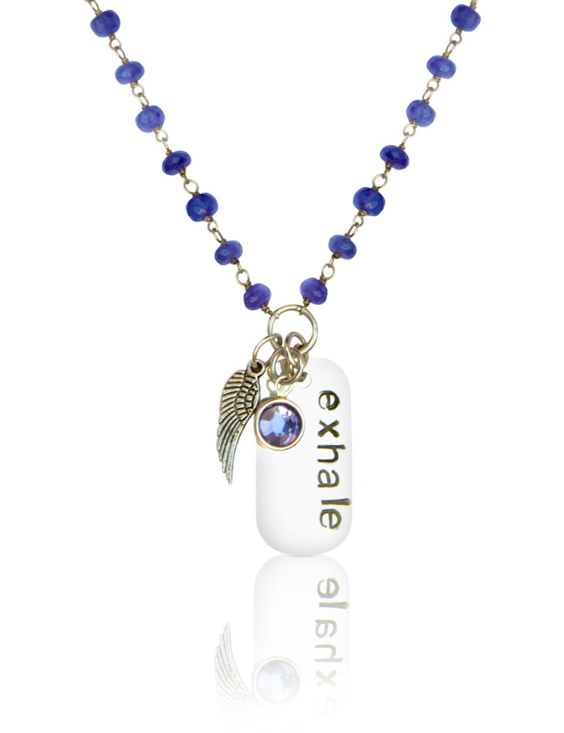 0423bd9a6343 Bird Pendant Aura Cleansing Tanzanite Necklace Sterling