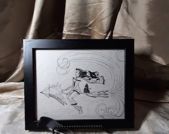 Space Broom- Pen and Ink