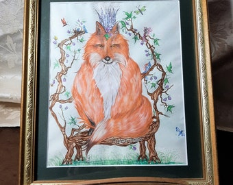 Mixed Media drawing of the Beautiful Fox Queen.