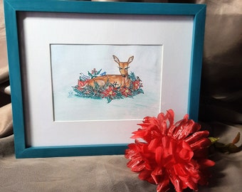 Inktense colored pencil drawing-- Title-- Poinsettia Fawn.