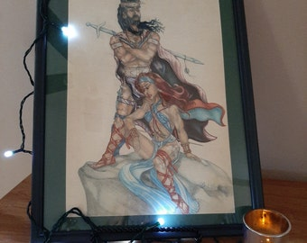 Colored pencil drawing of Barbarian couple-- Rest Stop