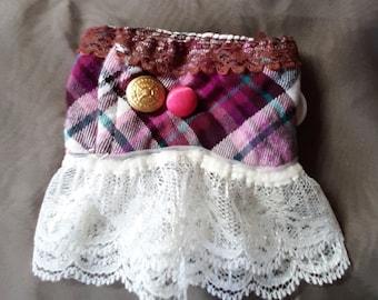 Handmade cloth & lace wrist cuff.