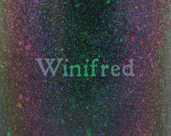 """Winifred chameleon glitter and flake nail polish 15 mL (.5 oz) from the """"Just a Bunch of Hocus Pocus"""" Collection"""
