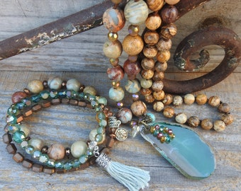 Boho jewelry set Necklace bracelet set Beaded jewelry set Gemstone necklace bracelet set Matching jewelry set Stone pendant necklace set