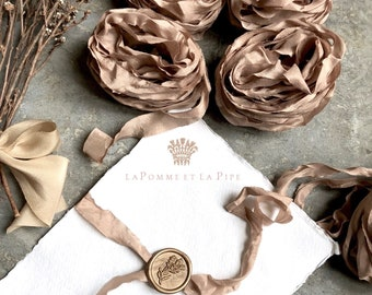 Rose Gold hand dyed Silk Ribbon, Hand dyed Silk Ribbon, Bouquet Silk Ribbon, Silk Ribbon, Paper Styling Silk Ribbon, Rose Gold Ribbon, Rose
