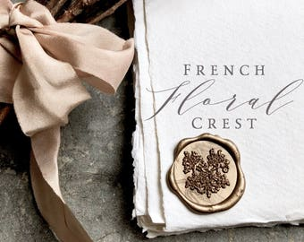 French Botanical Crest Wax Seals, Self Adhesive Wax Seals, Invitation Wax Seals, Botanical Crest Wax Seals, Wax Seals,  Envelope Seals