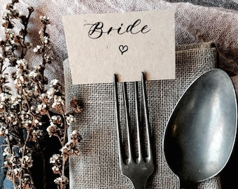 Wedding Fork Place Cards, Wedding Place Cards, Heart Place Cards, Flat Place Cards, Place Cards, Calligraphy Place Cards