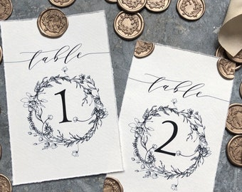 Handmade Paper Table Number Cards, Kraft Table Number Cards, Wedding Table Number Cards, Table Number Cards, Rustic Table Numbers, Wax Seals