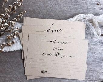 Rustic Wedding Advice Cards, Advice Cards, Advice for the Bride and Groom, Advice for the Newlyweds, Wedding Advice Cards