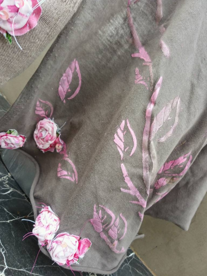 Cotton Taupe Gauze Bandana with Pink and Blush handmade cotton roses.