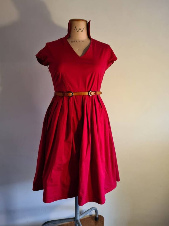 50s inspired red cotton sun dress