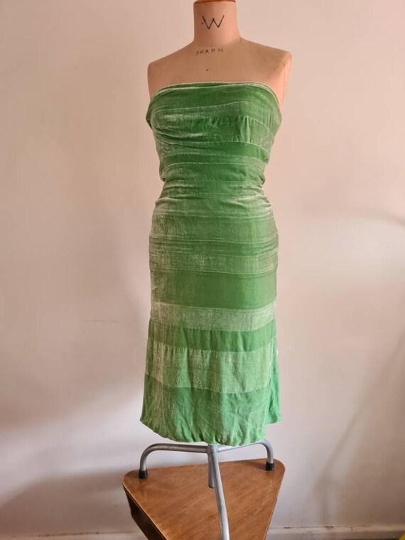 Silk velvet strapless dress