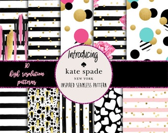 INSTANT DOWNLOAD - 10 Kate Spade inspired seamless patterns - High resolution - Jpgs