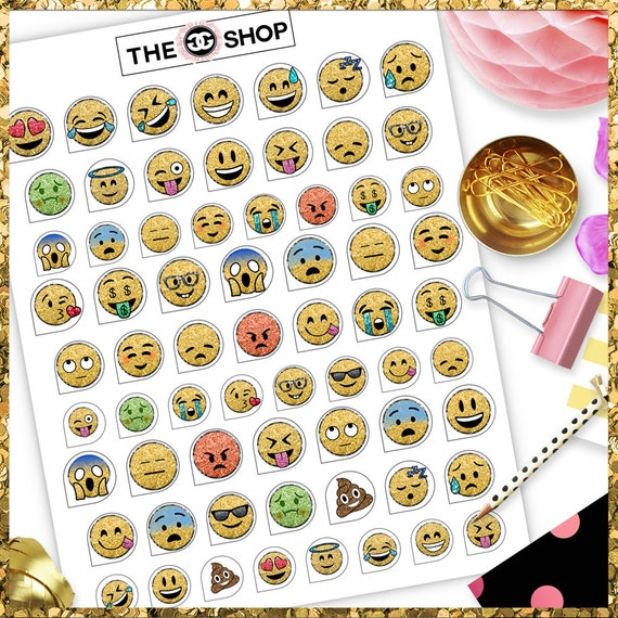 graphic relating to Printable Circle Stickers called Emojis Tiny Circle stickers - Emoticons printable sticker sheet - PDF + JPG