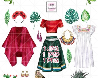 INSTANT DOWNLOAD - Watercolor Frida Kahlo inspired clip art set