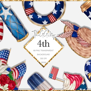 Summer Sweets Clipart  4th of July Clipart  Summertime  Ice Cream  Independence Day Stickers  Soda Pop  Digital Download